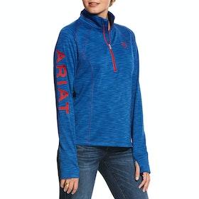 Ariat Tek Team Half Zip Ladies Sweater - Vertical Blue Heather