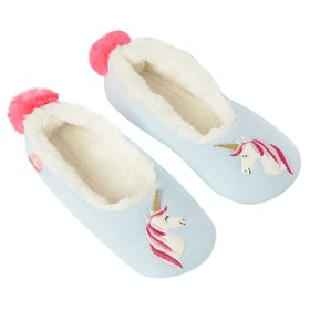 Joules Dreama Character Girls Slippers - Blue Unicorn