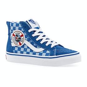 Chaussures Enfant Vans Sk8 Hi Zip - Shark Week Blue True White