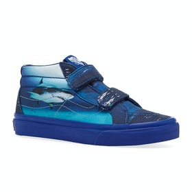 Chaussures Enfant Vans Sk8 Mid Reissue V - Shark Week Underwater True Blue