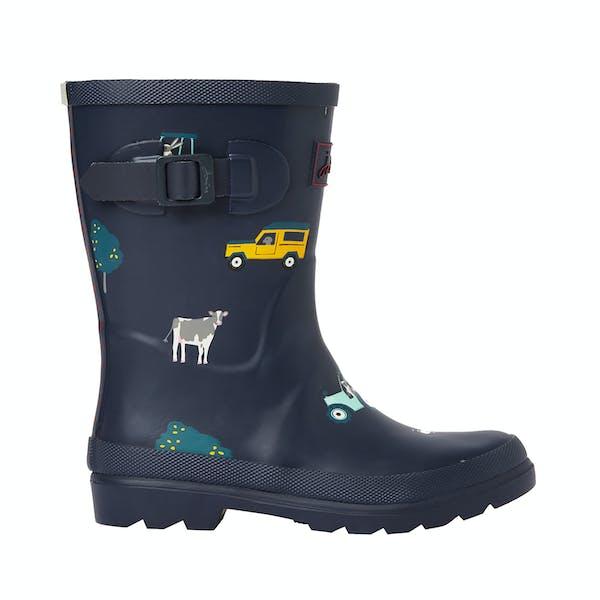 Joules Jnr Welly Print Boy's Wellington Boots