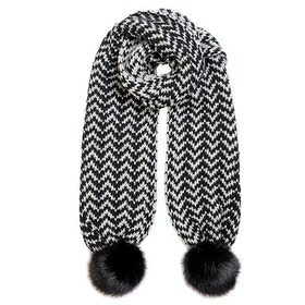 Dents Zig Zag Scarf - Black Dove Grey