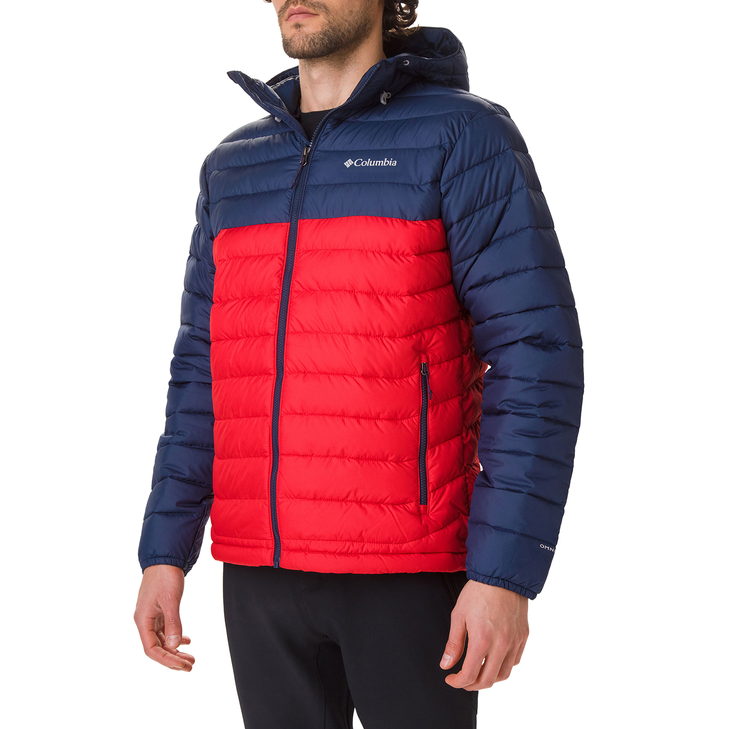 Mountain Red Navy Columbia Powder Lite Hooded Mens Jacket Synthetic Fill