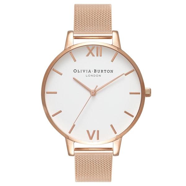 Olivia Burton White Dial Mesh Women's Watch