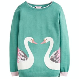 Joules Miranda Girls Knits - Green Double Swan