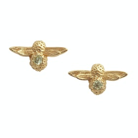 Olivia Burton Celebration Bee Studs Damen Earrings - Gold Peridot