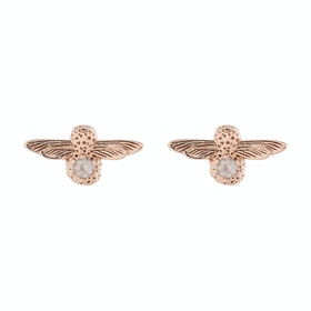 Earrings Donna Olivia Burton Celebration Bee Studs - Gold Rose Quartz
