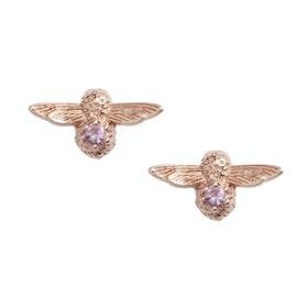 Earrings Donna Olivia Burton Celebration Bee Studs - Rose Gold Amethyst