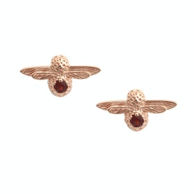 Earrings Donna Olivia Burton Celebration Bee Studs - Rose Gold Garnet