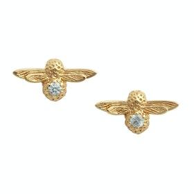 Olivia Burton Celebration Bee Studs Damen Earrings - Gold Aquamarine