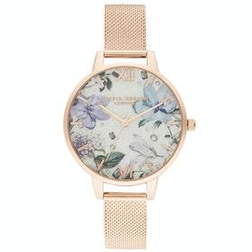 Olivia Burton Bejewelled Florals Women's Watch - Silver Glitter Rose Gold