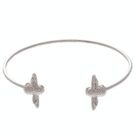 Olivia Burton 3d Bee Open End Bangle Damen Bracelet - Silver