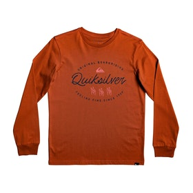 T-Shirt à Manche Longue Quiksilver Wave slaves - Burnt Brick