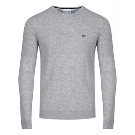 Sudadera Lacoste Crew Neck Knit - Silver Chine/navy Blue-fl