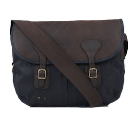 Barbour Wax Leather Tarras Messenger Bag - Navy