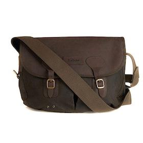 Barbour Wax Leather Tarras Messenger Bag - Olive
