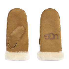 Gants UGG Sheepskin Logo Mitten - Chestnut