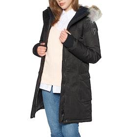 Kurtka Damski Nobis Abby Crosshatch with Fur Trim - Black