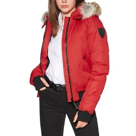 Nobis Harlow Bomber Style with Fur Trim Women's Jacket - Red