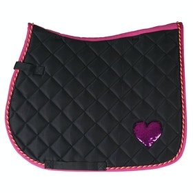 Horka Red Horse Sequin Heart Gp Saddlepads - Black