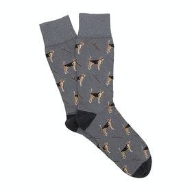 Corgi Lightweight Cotton Blend Men's Socks - Slate Dog