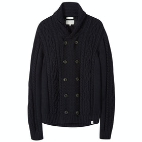 Peregrine Made In England Knitted Aran , Cardigan - Navy