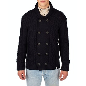 Peregrine Made In England Knitted Aran Cardigan - Navy