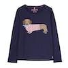 Joules Bessie Girls Top - Navy Sausage Dog