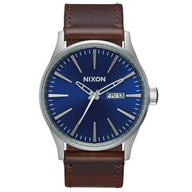 Nixon Sentry Leather Watch - Blue Brown