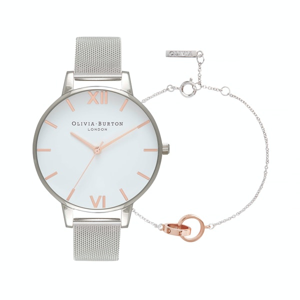 Olivia Burton White Dial And Classic Chain Bracelet Women's Jewellery Gift Set