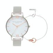 Olivia Burton White Dial & Classic Chain Bracelet Women's Jewellery Gift Set