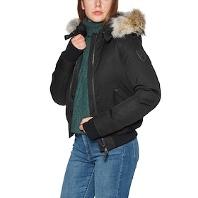 Nobis Harlow Bomber Style with Fur Trim Women's Jacket - Black
