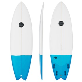 Maluku Quad Fish FCS II Surfboard - White Blue Tail Dip