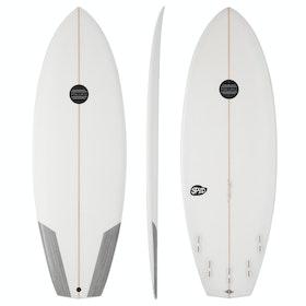 Maluku Spud FCS II 5 Fin Surfboard - White Carbon