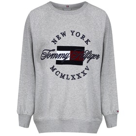 Tommy Hilfiger Lola Embroidery Dame Sweater - Light Grey Heather