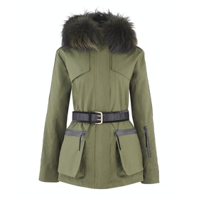 Troy London x Amanda Wakeley Elements Parka Fur Womens Bunda - Khaki Green