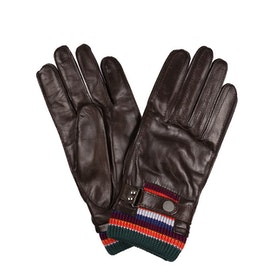 Paul Smith Ribbed Artist Stripe Gloves - Dark Brown