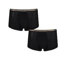 Emporio Armani Knit 2 Pack Trunk Boxer Shorts - Nero Nero