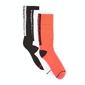 Superdry Surplus Goods Triple Pack Socks - Black Orange Optic