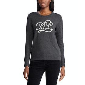 Lauren Ralph Lauren Intarsia Knit Logo Women's Sweater - Madison Grey Heather