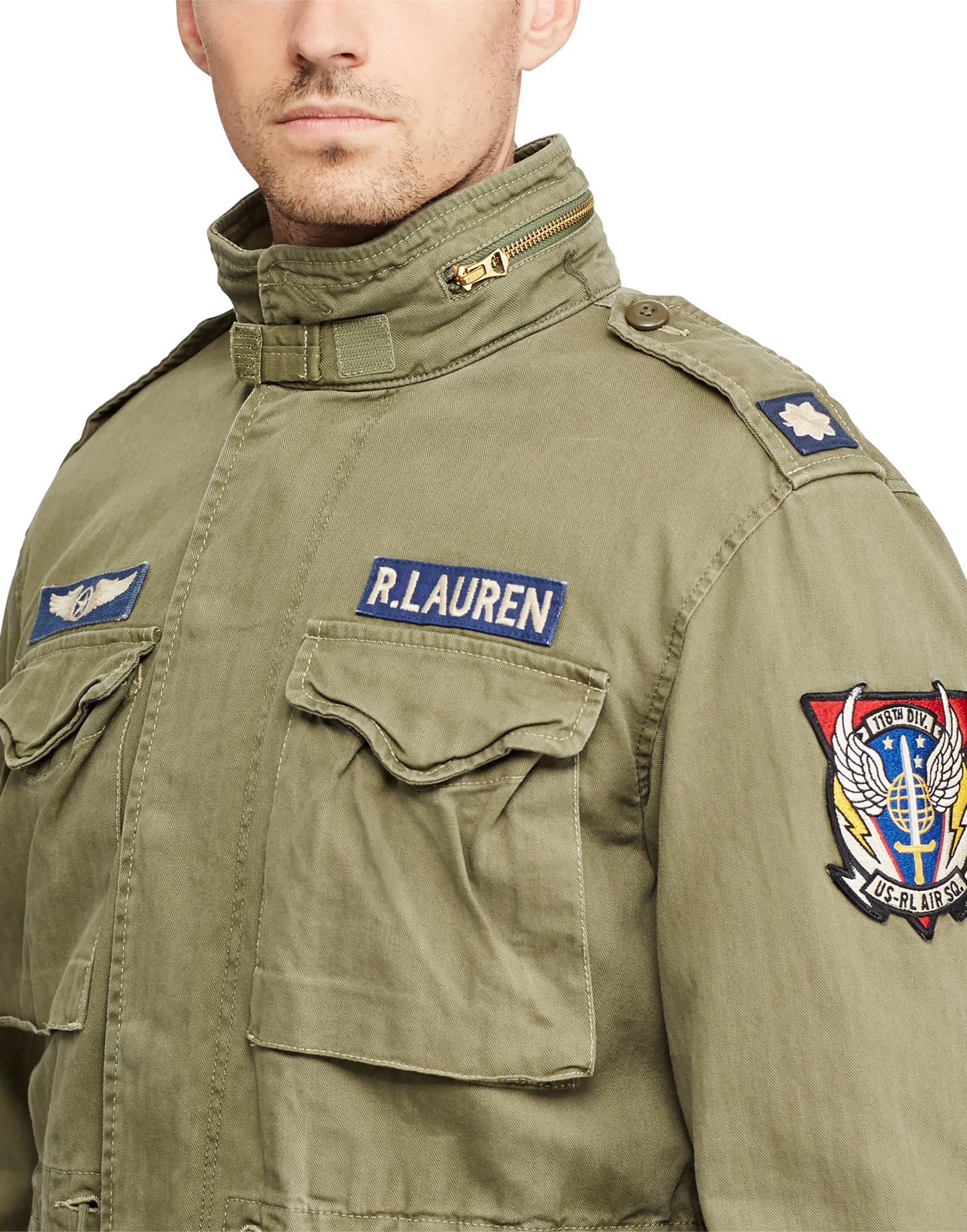 Ralph Lauren Cotton Twill Field Jacket Olive W Patches