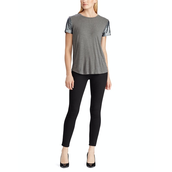 Ralph Lauren Jersey Sequin Sleeve Women's Top