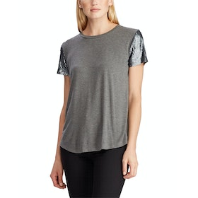 Lauren Ralph Lauren Jersey Sequin Sleeve Dames Top - Lexington Grey Pewter