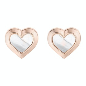 Ted Baker Heila: Mother Of Pearl Heart Stud Earrings - Rose Gold Pearl