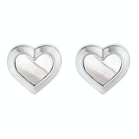 Ted Baker Heila: Mother Of Pearl Heart Stud Earrings - Silver Pearl