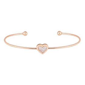 Ted Baker Heshra Mother Of Pearl Heart Ultra Fine Cuff Bracelet - Rose Gold Pearl