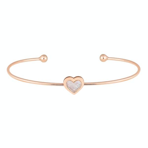 Ted Baker Heshra Mother Of Pearl Heart Ultra Fine Cuff Bracelet