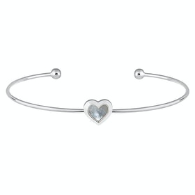 Ted Baker Heshra Mother Of Pearl Heart Ultra Fine Cuff Bracelet - Silver Pearl
