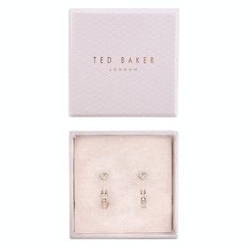 Ted Baker Nelsa Nano Heart and Huggie Earring Jewellery Gift Set - Rose Gold Crystal