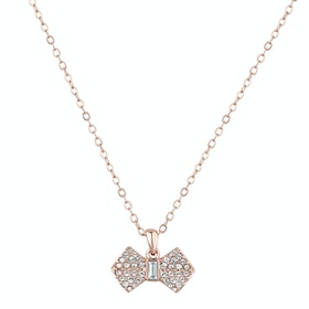Ted Baker Sanra Solitaire Pave Bow Pendant Necklace - Rose Gold Crystal